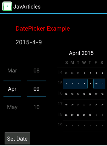 Date Picker Screen