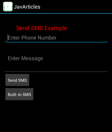 Main SMS Screen