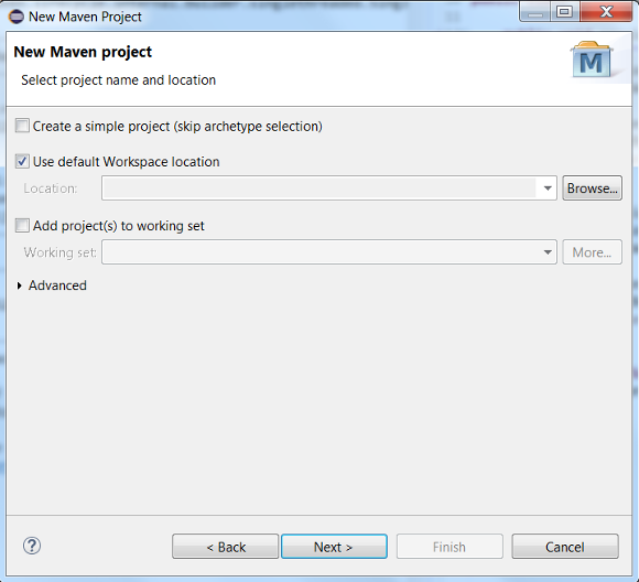 Maven Project Main Screen