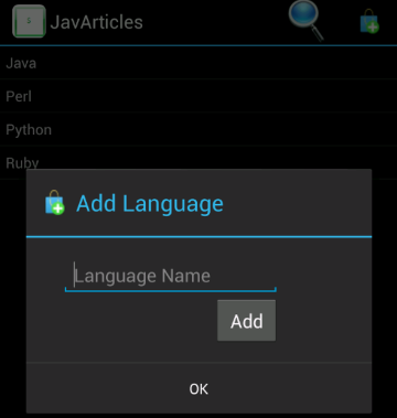 Add Language Dialog