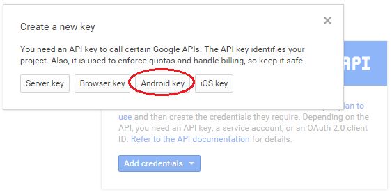 Create new Android Key