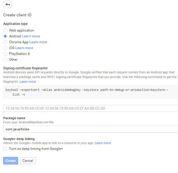 OAuth Create Client ID