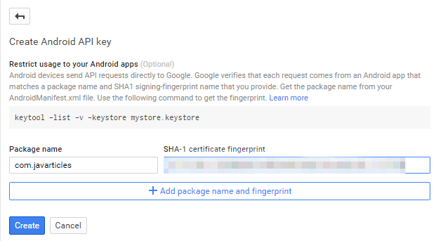 Enter product name and SHA and then create API Key