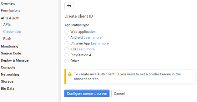 Configure Consent Screen