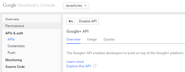 Google + API After Enable