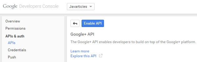 Click on 'Enable API'