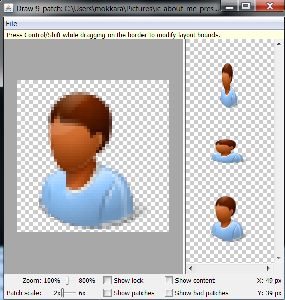 Open png in draw-9-patch tool