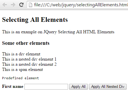 Select All HTML tags Example